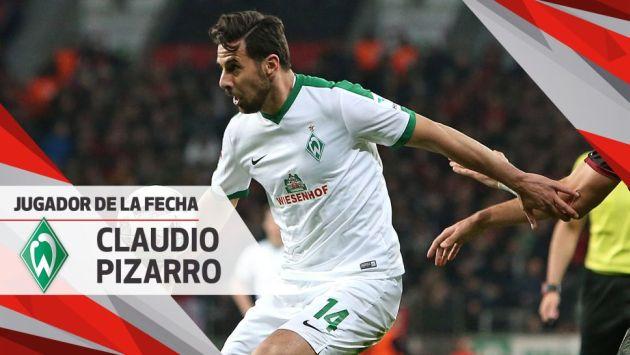 Pizarro fue destacado de esta manera por segunda semana consecutiva y por tercera ocasión en la temporada. (Bundesliga)