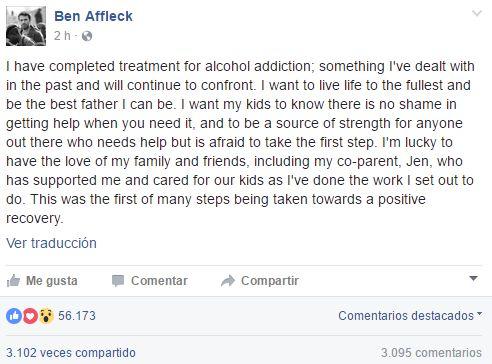 El posteo de Ben Affleck haciendo pública su batalla contra el alcoholismo