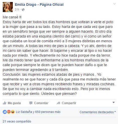 Emilia Drago Está Harta Del Acoso Callejero Me Molestan
