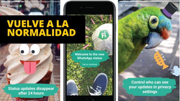 WhatsApp mantiene las historias en la aplicación.