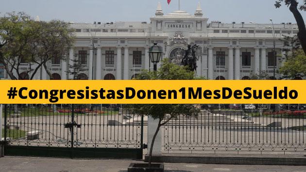 #CongresistasDonen1MesdeSueldo es el 'hashtag' de indignación de los usuarios de Twitter. (Perú21)