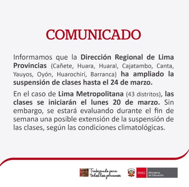 Clases seguirán suspendidas el lunes y martes — Lima