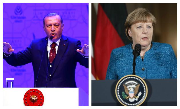 Erdogan acusó a Angela Merkel de tener