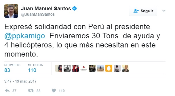 Ecuador entregó a Perú ayuda para damnificados por los huaicos