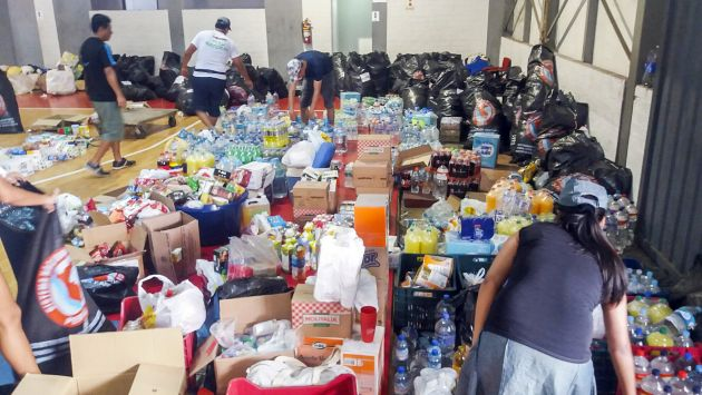 Se solicitó a la población priorizar la donación de agua y alimentos no perecibles. (Ministerio de la Producción)
