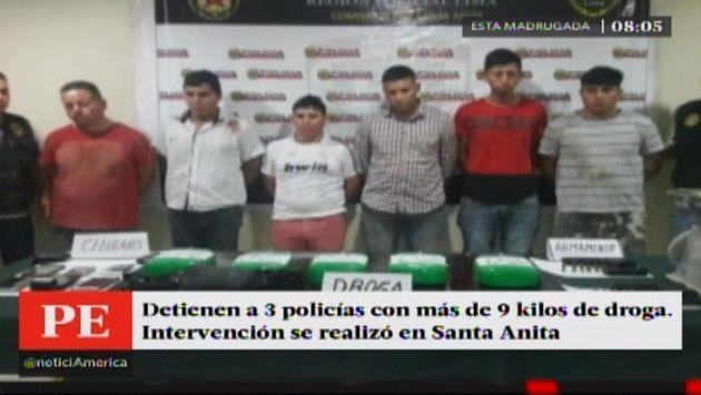 Policias detenidos por transportar 8 kilos de droga (Foto: América TV)