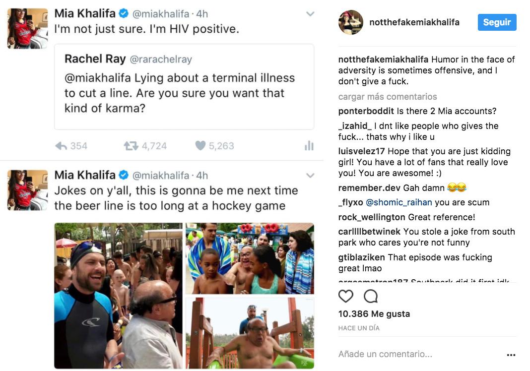 Realiza Mia Khalifa broma sobre VIH en Instagram