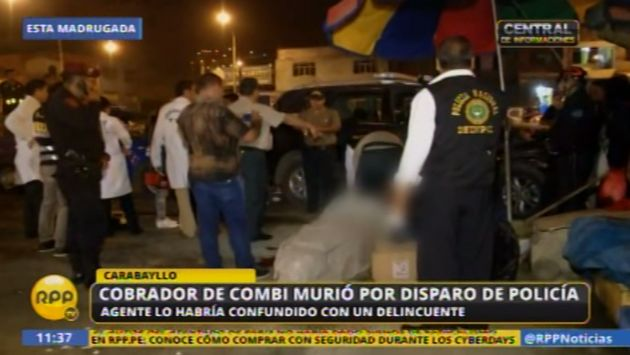 Cobrador de combi muere en intervención policial en Carabayllo. (Captura)