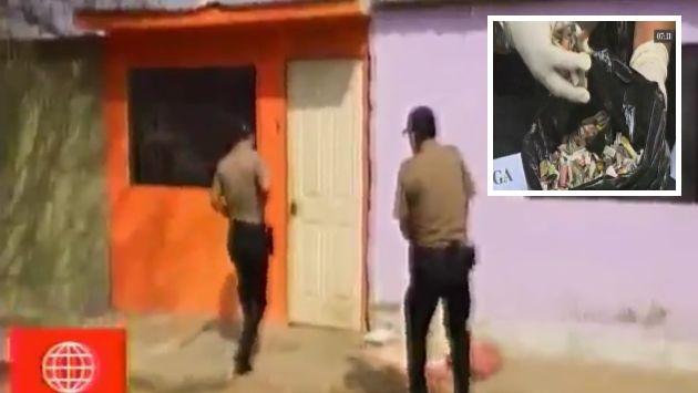 Los agentes de la PNP encontró 1,695 ketes de PBC, dos armas de fuego, proyectiles entre otras cosas. (América TV)
