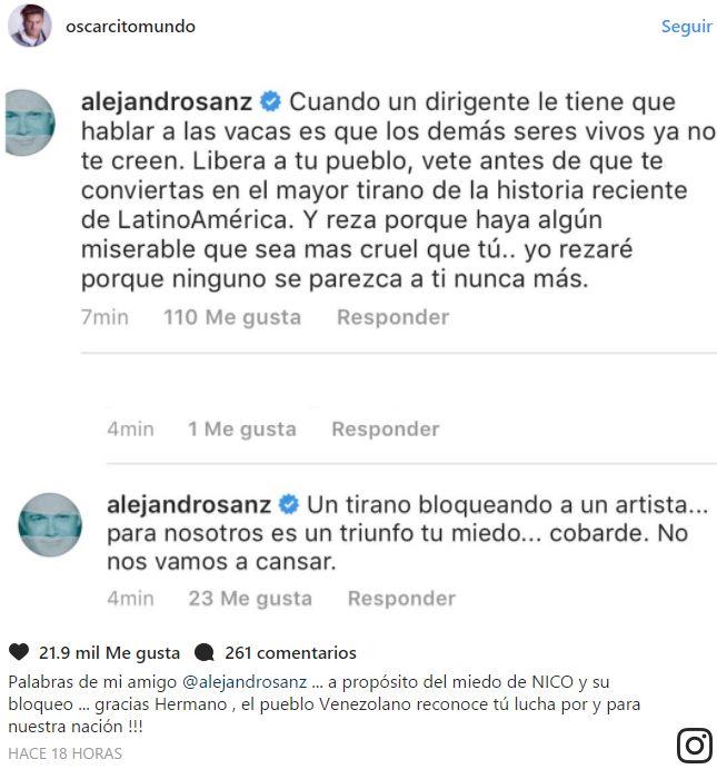 Alejandro Sanz a Nicolás Maduro: