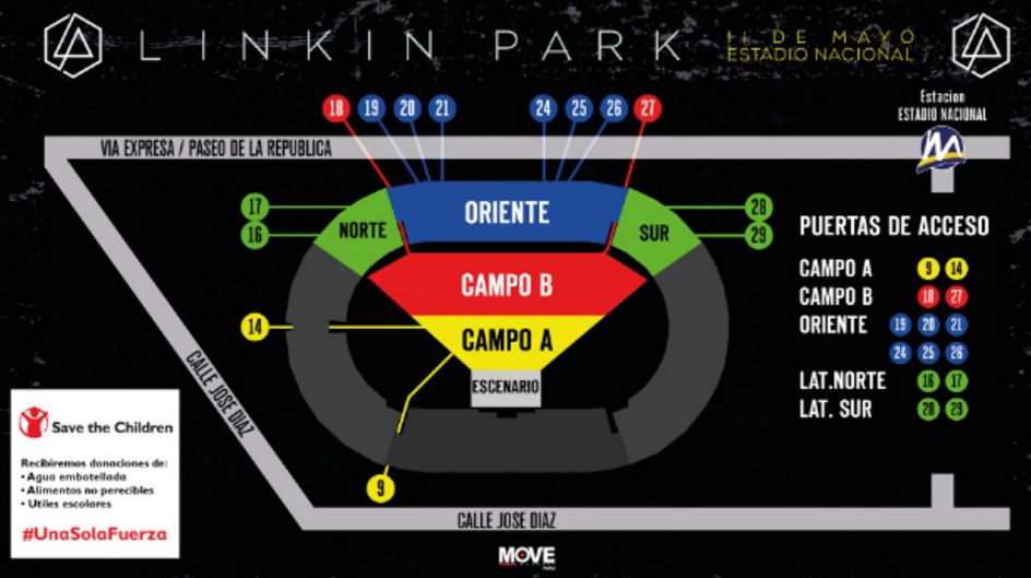 Vas al concierto de linkin park estas recomendaciones for Puerta 4 estadio nacional