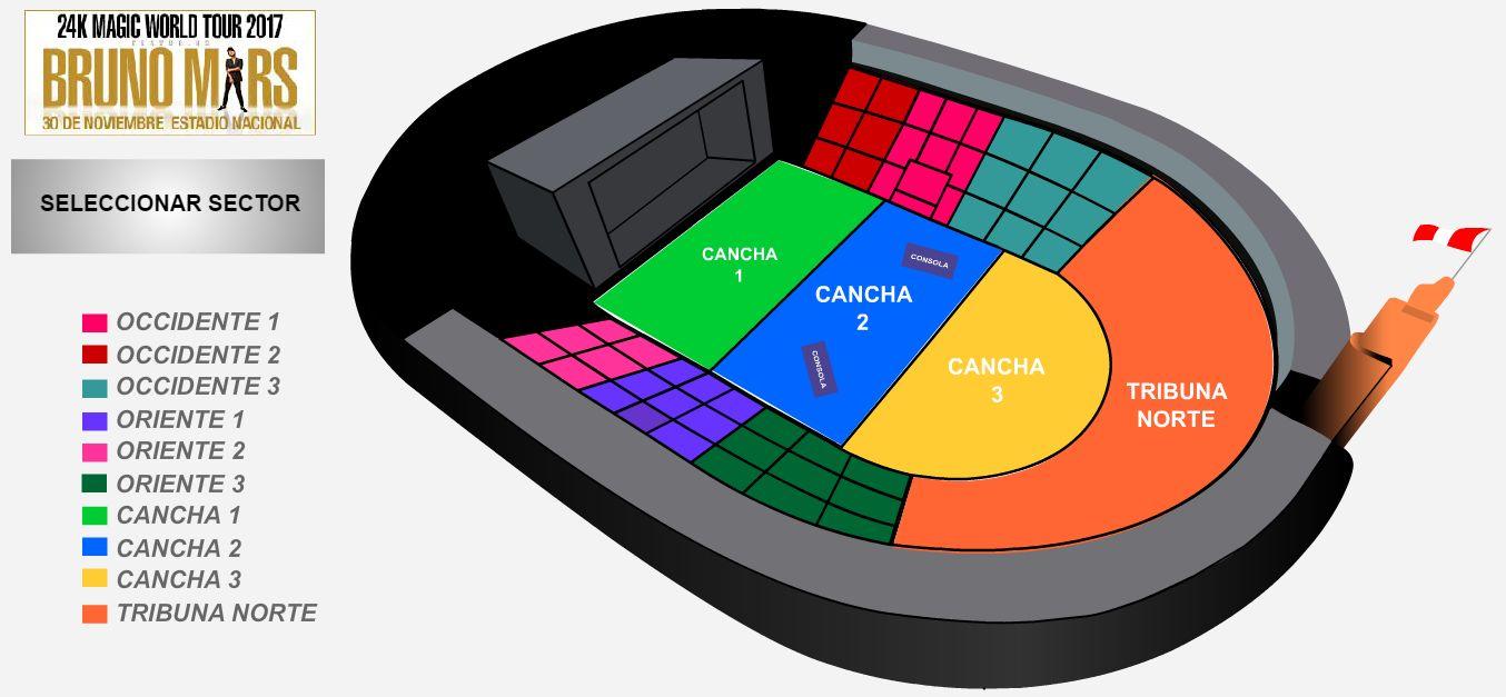 Bruno mars estos son los nicos espacios que van quedando for Puerta 9 del estadio nacional de lima
