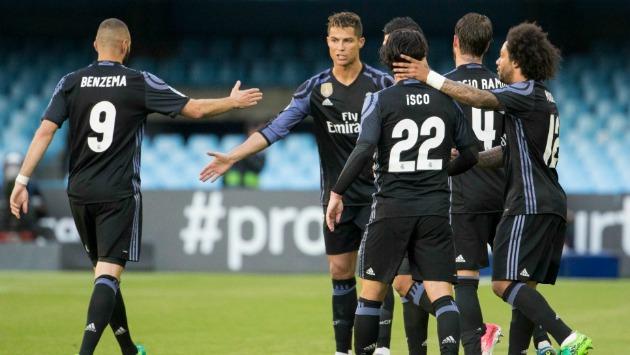 Real Madrid goleó al Celta y recuperó el primer lugar de la Liga Española, a falta de una jornada para el desenlace del certamen.  (Reuters)