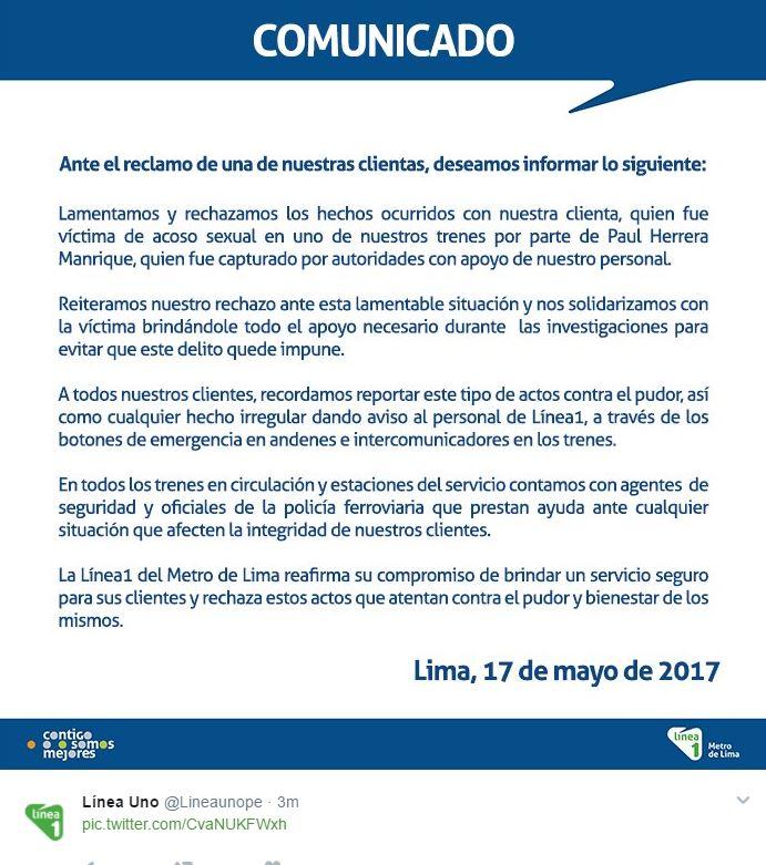 Metro de Lima apoyará a joven víctima de acoso sexual en denuncia