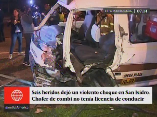 Choque de combi deja seis personas  heridas en San Isidro. (América TV)