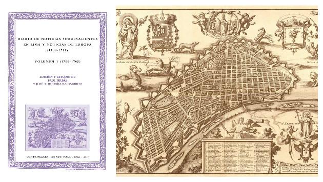 Portada de 'Diario de noticias sobresalientes en Lima y Noticias de Europa' y mapa de la capital en libro 'La estrella de Lima'.