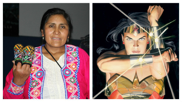 Doris Barrientos preparó brazaletes de Mujer Maravilla con elementos de Maranganí, Cusco (Agencia Asesores/Alex Ross).
