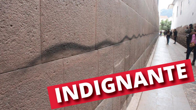Dos sujetos habrían realizado pintas a un muro del Coricancha en Cusco. (Composición)