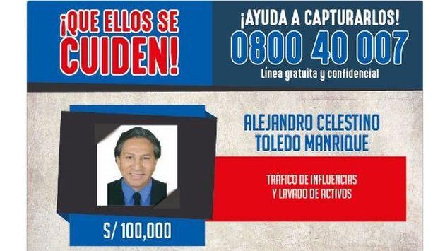 Alejandro Toledo dejó de estar en la lista de los más buscados (Difusión)