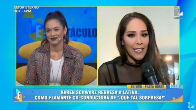 Jazmín Pinedo le dio la bienvenida a Karen Schawrz por su regreso a Latina. (Captura de video)
