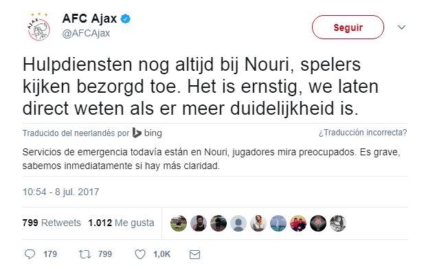 Un jugador de Ajax se desplomó en plena partido