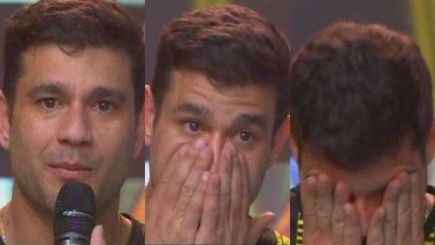 Yaco Eskenazi no pudo contener la lágrimas de emoción por sorpresa en 'Esto es guerra'. (América Tv)