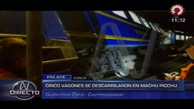 Machu Picchu: Dos vagones de Perú Rail se descarrilan sin dejar heridos. (Canal N)