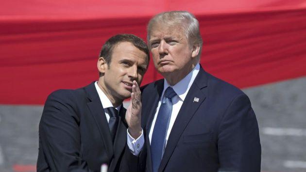 """Emmanuel Macron junto a Donald Trump: """"Nada nos separará jamás de Estados Unidos"""". (EFE)"""