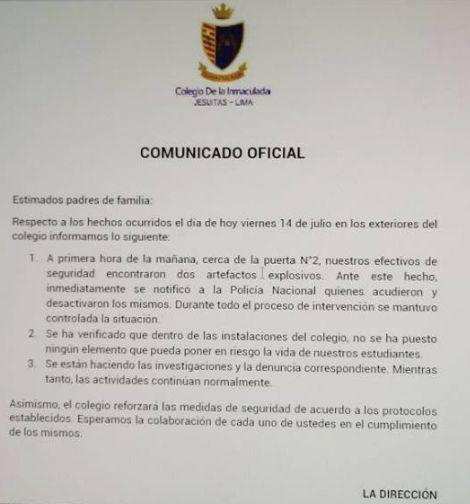 Alerta por granadas que dejaron en exteriores de colegio — Surco
