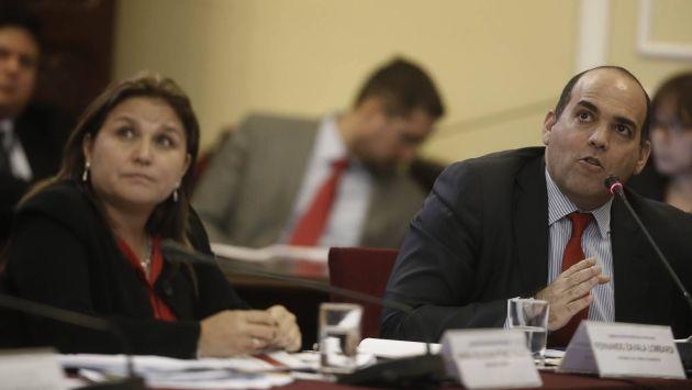 Fernando Zavala y ministra Pérez Tello asistieron a comisión del Congreso. (Geraldo Caso)