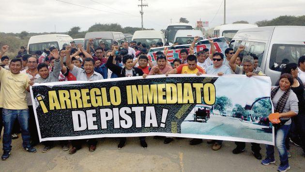 Carretera en Piura fue tomada por transportistas. (Jorge Merino)