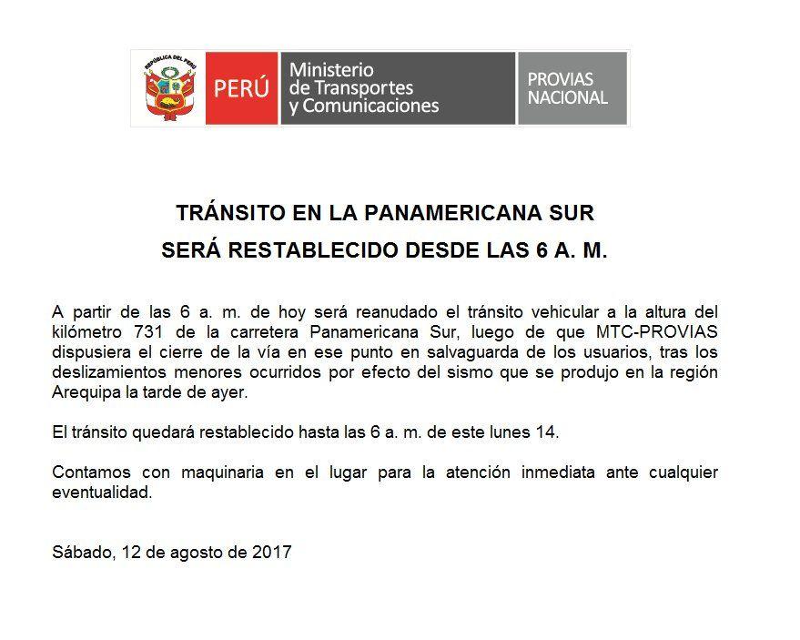 Reabren tránsito vehicular en el kilómetro 731 de la Panamericana Sur — Arequipa