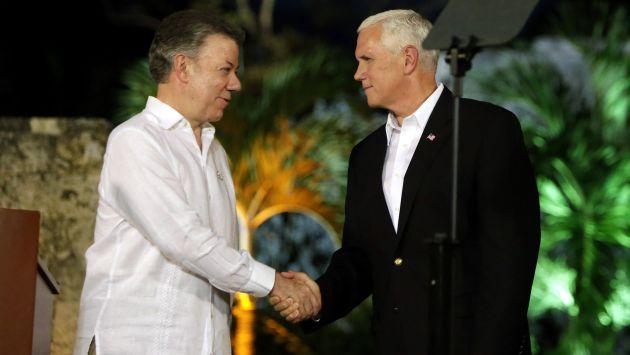 Juan Manuel Santos y Mike Pence declararon sobre la crisis en Venezuela (Efe).