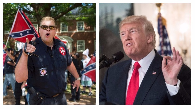 Dirigente del Ku Klux Klan felicitó a Trump por culpar de los incidentes de violencia en Virginia a grupos de izquierda (AFP).