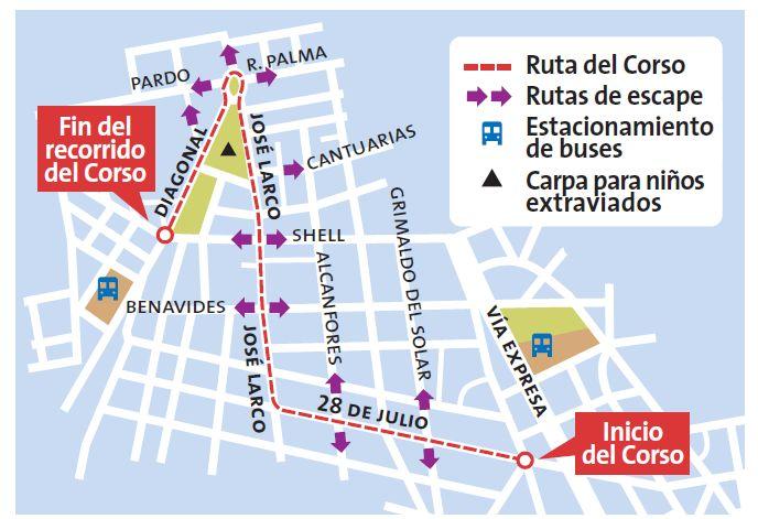 av republica mapa Miraflores: Conoce el mapa de desvíos por el Corso de Wong | Lima  av republica mapa